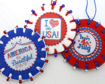 """3 Wool Felt July 4th / Patriotic Ornaments with Beading - 2.25"""""""