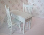 Dollhouse miniature, dollhouse table,  kitchen set, miniature chairs, mini table,  kitchen desk, pale blue,  kitchen set, twelfth scale,