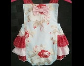 Baby Girl Romper - Baby Retro Romper - Snap Crotch Sunsuit - Ruffle Romper - Cake Smash Outfit - Petal Large Antique Roses - Birthday Romper