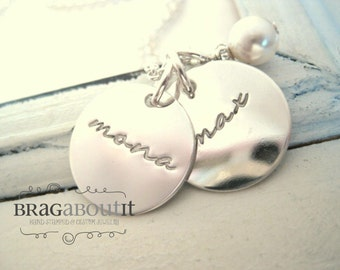 Personalized Hand Stamped Jewelry . Personalized Necklace . Hand Stamped . Brag About It . Tiny Brags