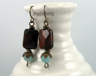 Rustic Red and Teal earrings, mixed gemstone beaded dangles on brass wires