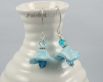 Blue Bell Flower earrings, rustic whimsy polymer clay and glass beaded dangles on sterling silver wire