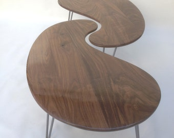 Nesting Kidney Bean Coffee Tables - Mid-Century Modern - Atomic Era Design In Solid Walnut- Comes in Pair of Two