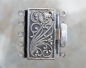 23x21x4.5mm Antique Silver Finish on Solid Brass Metal 5 Strand Box Clasp (FS46)