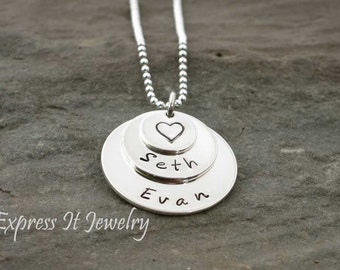 Hand Stamped Jewelry Triple Nested Disc Necklace