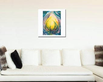 New Earth Heart Flame - the fire within for warmth and a smile - beautiful fine art limited edition (giclee) print of my original painting