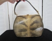 Purse, Handbag Beige or Gold and Black Snakeskin Look from 50s or 60s