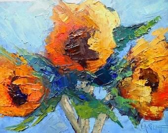 "Sunflower Oil Painting, Impressionist art,  Knife Painting, Daily Painting, Small Oil Painting, Floral Still Life, ""SunnyFlowers"", 6x8"" Oil"