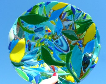 Fused Glass Abstract Blue Green Wavy Round Plate Serving Dish