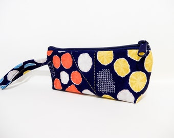 Wristlet, Fabric Purse, Fabric Zipper Pouch, Japanese Import Fabric Pouch, Small Purse, Small Pouch, Red, Yellow Aqua, Taupe Dots on Blue