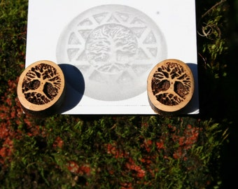Wood Earrings- Tree of Life Posts in Juniper wood (08)