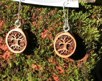 Wood Earrings- Tree of Life Earrings in Juniper wood (012) Boho Natural Earrings tree of life