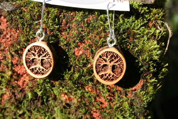 Wood Earrings- Tree of Life Earrings in Juniper wood (012) Boho Natural Earrings tree of life
