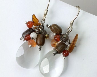 White Earrings Multicolor Cluster Dangle Wire Wrapped Sterling Silver Earth Tones