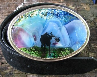Longhorn Steer Fused Glass Dichroic Antique Silver Oval Belt Buckle