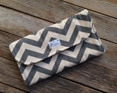 Gray and Yellow Chevron Diaper Clutch with Changing Pad - Gender Neutral - Grey - Chevron Diaper Clutch - Gray - Baby Shower Gift - Boy - Gi