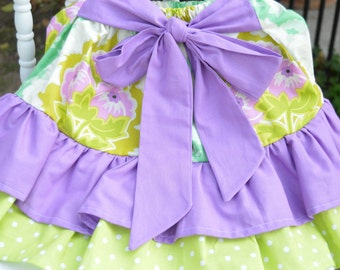 Floral Purple and Green Tiered Ruffle Skirt - 2T/3T