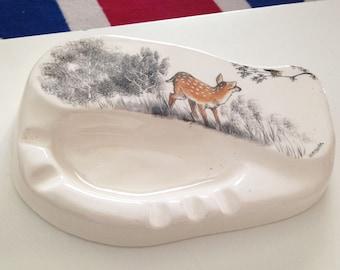 Vintage Ceramic Ashtray, Alaskan Wilderness by Wittshirk, Hand Painted Deer