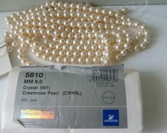 Swarovski 5810 8mm CREAMROSE Crystal Pearls 250 pieces Round Pearl Beads Unopened Bulk Factory Pack Wholesale Destash Imitation Simulated