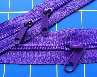 Purple Purse Zippers by the yard.  2yds with 8pulls each size 3mm & 5mm