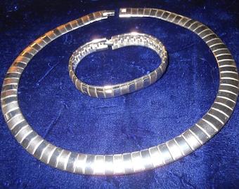 Vintage Silver Tone Necklace and Bracelet