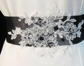 Black Ivory Wedding Sash Bridal Belt  Bridal Beaded Appliques