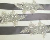 Wedding Sash Silver Embroidered Beaded Ivory Applique Bridal  Belt  Bridal Beaded Appliques Grey