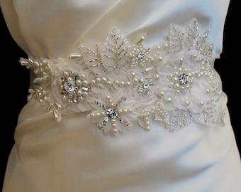 Ivory Pearl Crystal Beaded  Sash Bridal Wedding Belt 3D Applique