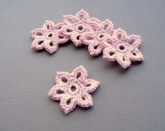 5 Crochet Flower Appliques -- 1-3/8 inch Diameter, in Pale Pink