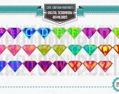 CUSTOM Superhero Alphabet Letters ClipArt Clip Art Super Hero Party Supply