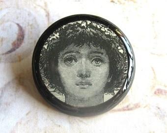 Patience - Wooden Round Decoupage Ephemera Brooch, Pre-Raphaelite Woman, with Gift Box