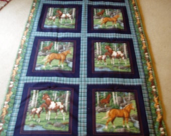 Horses in the Meadow Throw Quilt/Blanket