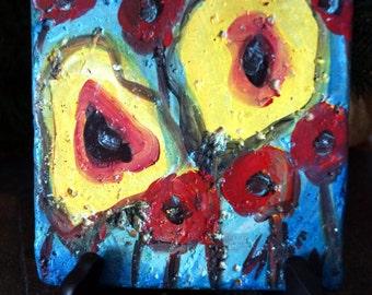 Original Hand Painted Kitchen Art Tile POPPIES Miniature Flowers Painting on Stone by Luiza Vizoli