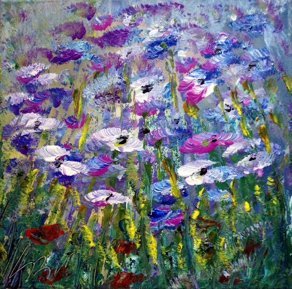 En mati re vente original peinture l 39 huile fleurs for Peinture couleur lavande