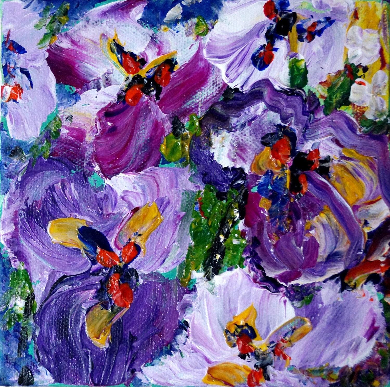 Konda Art Framed Handmade Purple Flower Oil Painting On: Original Oil Painting Purple Petunia Flowers Abstract Spring