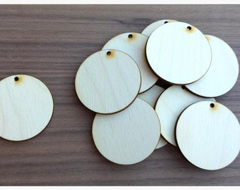 50 Pieces- Unfinished Wood Laser Cut Round Circle Pendant Blanks Disks 1.5 inch