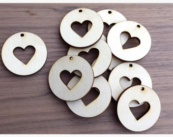 10 Pieces- Round Pendant with Heart Cut Out 1.5 inch Unfinished Wood Laser Cut Round Circle Pendant Blanks Disks