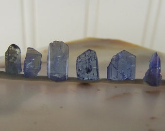 10 Tanzanite Crystals - gemstone specimen small - genuine terminated crystal   natural wire wrap stone gem blue purple tiny wholesale lot