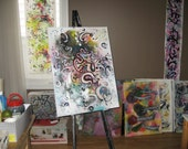 Original large painting abstract on stretched canvas size 32x24 art sjkim painting acrylic and ink art