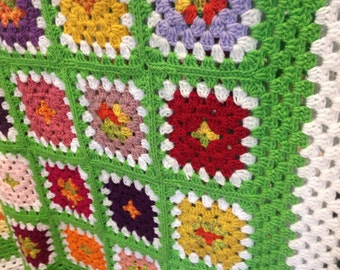 Zinnias Granny Square Afghan FREE SHIPPING