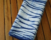Blue Linen Dish Towel, Shibori Dish Towel, Navy Blue White Kitchen Decor