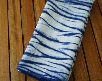 Blue Kitchen Towel, Linen Dish Towel, Shibori Decor, Navy Blue White Kitchen Decor