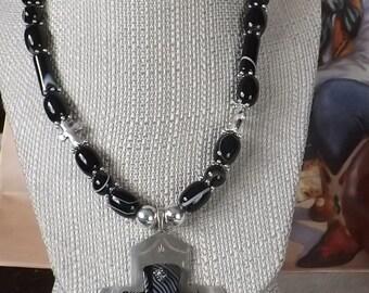Black Banded Agate  Southwest Cross Necklace