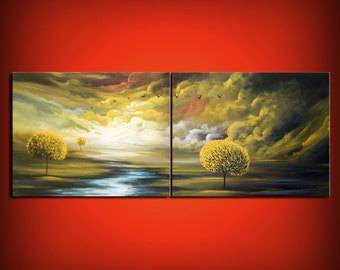 Original painting contemporary lollipop tree painting large 56 inch cloud sunset diptych original painting - Mattsart