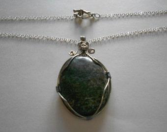 Green Pendant Russian Serpentine Cabochon Pendant Chain Necklace Wired Pendant Green Pendant Gray Pendant Green Cabochon Gray Cabochon