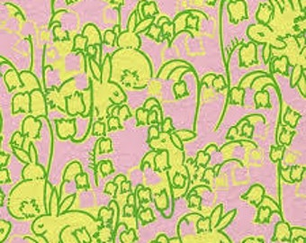 Ladies top made with  Lilly Pulitzer hopping down the bunny trail fabric