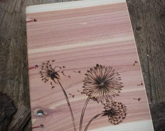 Flowers Red Cedar Wooden Journal