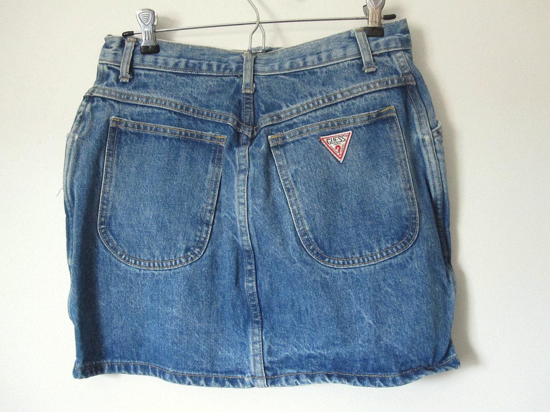 vintage 80s guess blue denim mini skirt size 31 by retrovous