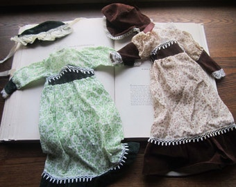 2 Vintage Doll Dresses with Bonnets * 1960's 70's Doll Clothes *Spirit Ghostly * Vtg  Prairie Dresses