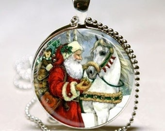 Old World SANTA CLAUS Vintage Victorian Christmas Card Altered Art Pendant Charm Necklace